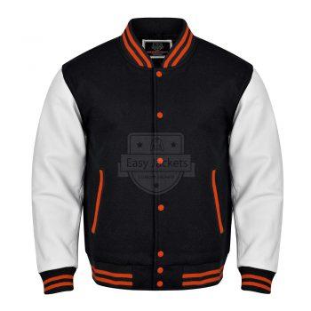 Black and white Melton Varsity Jacket