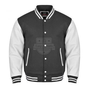 Dark Gray Melton Wool Varsity Jacket