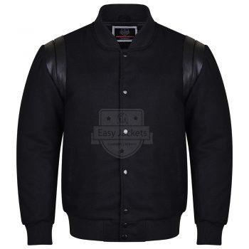 Black Melton Wool & Black Leather Shoulders
