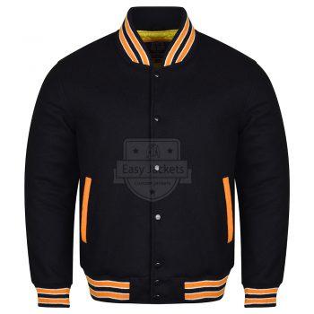 Black Melton Wool Varsity Jacket/Orange